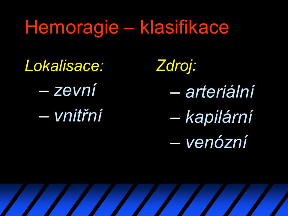 Hemoragie – klasifikace Lokalisace: – zevní – vnitřní Zdroj: – arteriální – kapilární – venózní