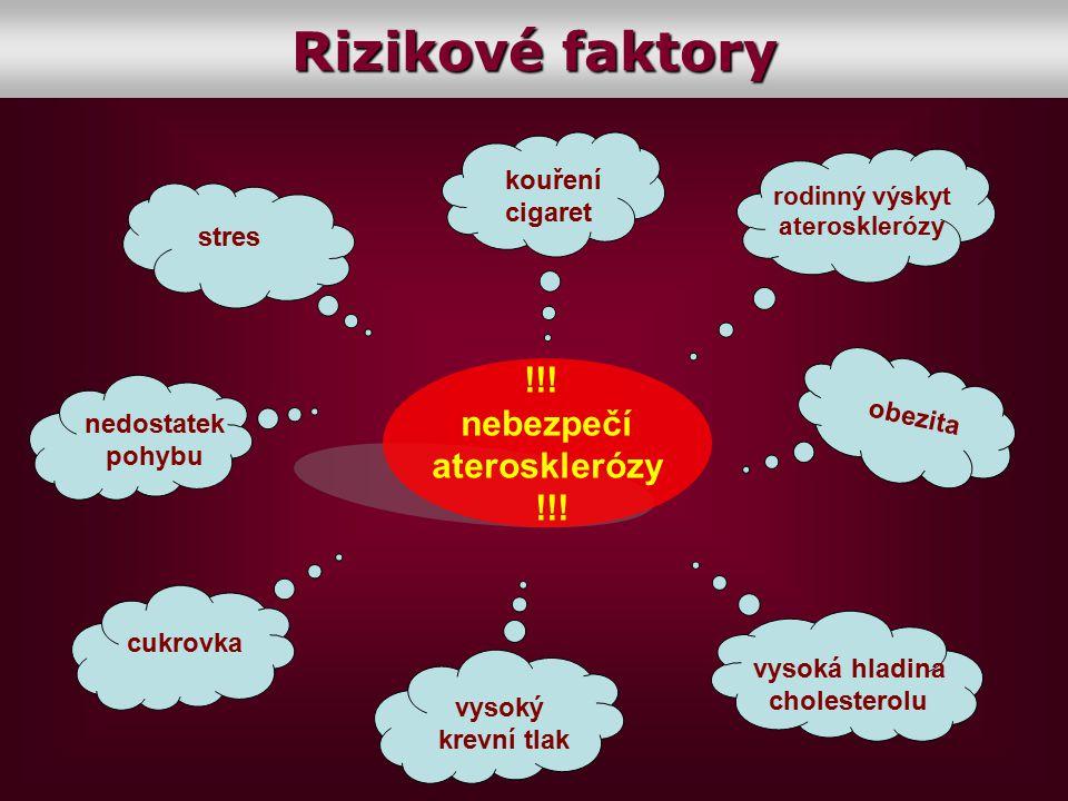 !!! nebezpečí aterosklerózy !!! kouření cigaret obezita rodinný výskyt aterosklerózy vysoký krevní tlak vysoká hladina cholesterolu cukrovka nedostate