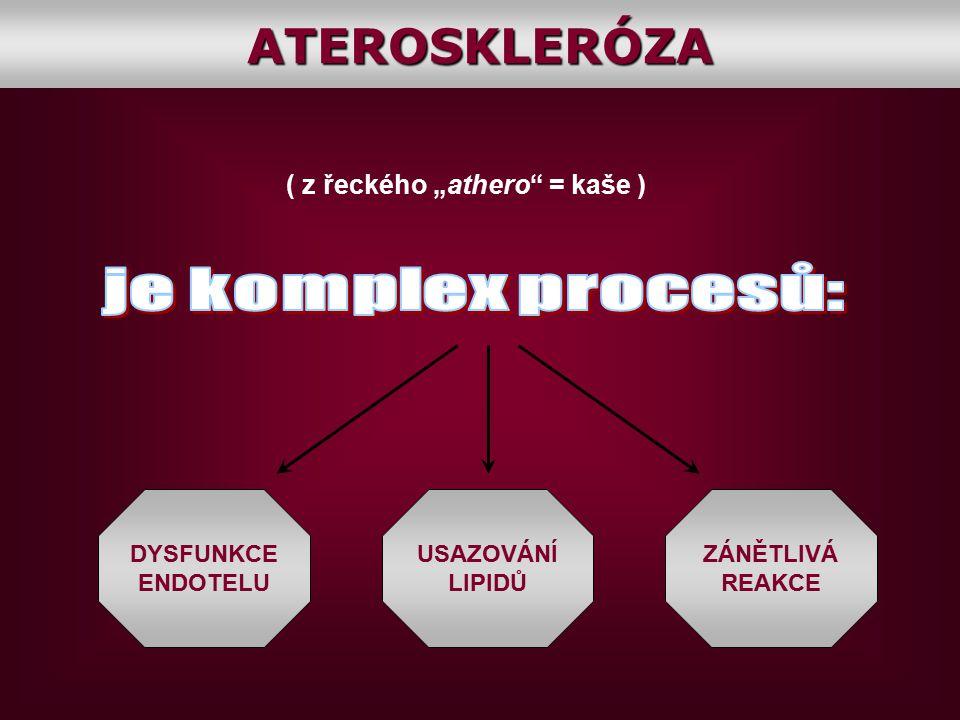 """( z řeckého """"athero"""" = kaše ) DYSFUNKCE ENDOTELU USAZOVÁNÍ LIPIDŮ ZÁNĚTLIVÁ REAKCEATEROSKLERÓZA"""