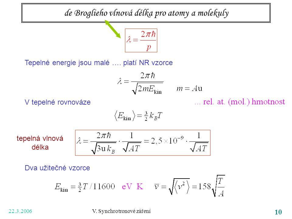22.3.2006 V. Synchrotronové záření 10 de Broglieho vlnová délka pro atomy a molekuly Tepelné energie jsou malé …. platí NR vzorce V tepelné rovnováze