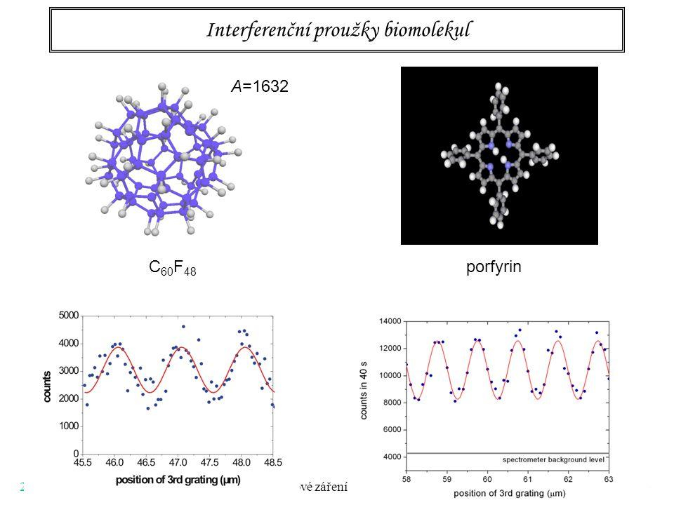 22.3.2006 V. Synchrotronové záření 39 Interferenční proužky biomolekul C 60 F 48 porfyrin A=1632