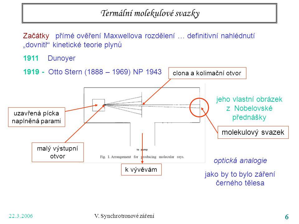 """22.3.2006 V. Synchrotronové záření 6 Termální molekulové svazky Začátky přímé ověření Maxwellova rozdělení … definitivní nahlédnutí """"dovnitř"""" kinetick"""