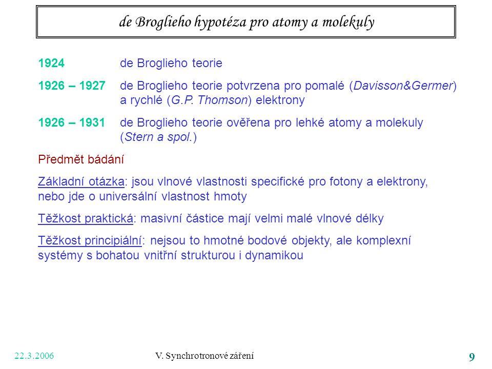 22.3.2006 V. Synchrotronové záření 9 de Broglieho hypotéza pro atomy a molekuly 1924 de Broglieho teorie 1926 – 1927 de Broglieho teorie potvrzena pro