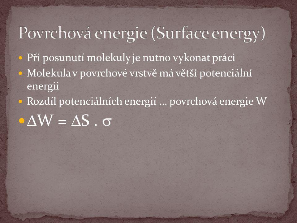 Při posunutí molekuly je nutno vykonat práci Molekula v povrchové vrstvě má větší potenciální energii Rozdíl potenciálních energií … povrchová energie W  W =  S.