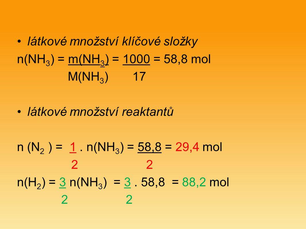 látkové množství klíčové složky n(NH 3 ) = m(NH 3 ) = 1000 = 58,8 mol M(NH 3 ) 17 látkové množství reaktantů n (N 2 ) = 1.