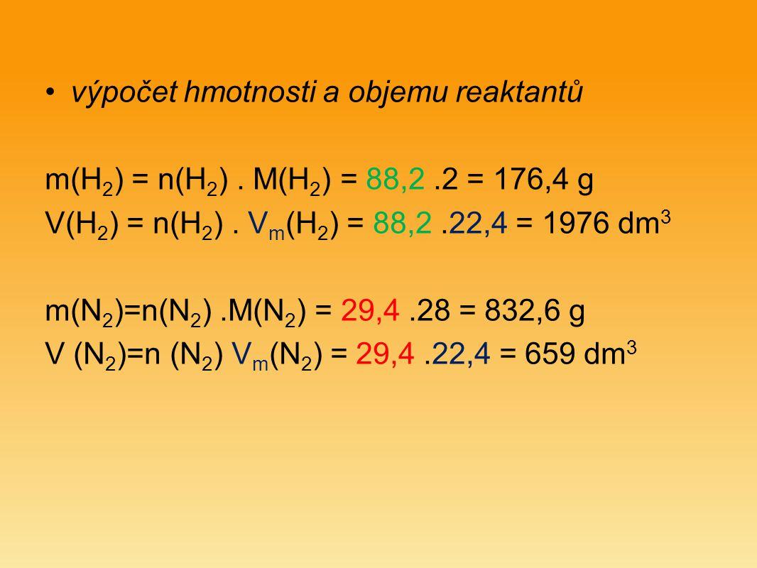 výpočet hmotnosti a objemu reaktantů m(H 2 ) = n(H 2 ).
