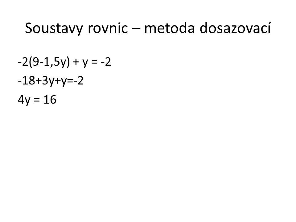 Soustavy rovnic – metoda dosazovací -2(9-1,5y) + y = -2 -18+3y+y=-2 4y = 16