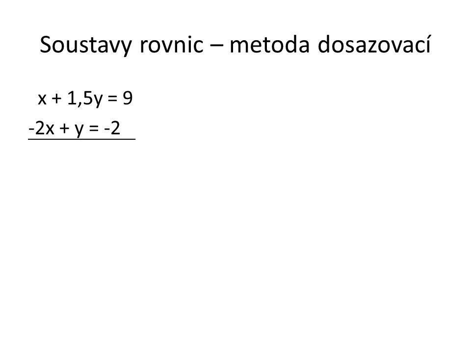 Soustavy rovnic – metoda dosazovací x + 1,5y = 9 -2x + y = -2