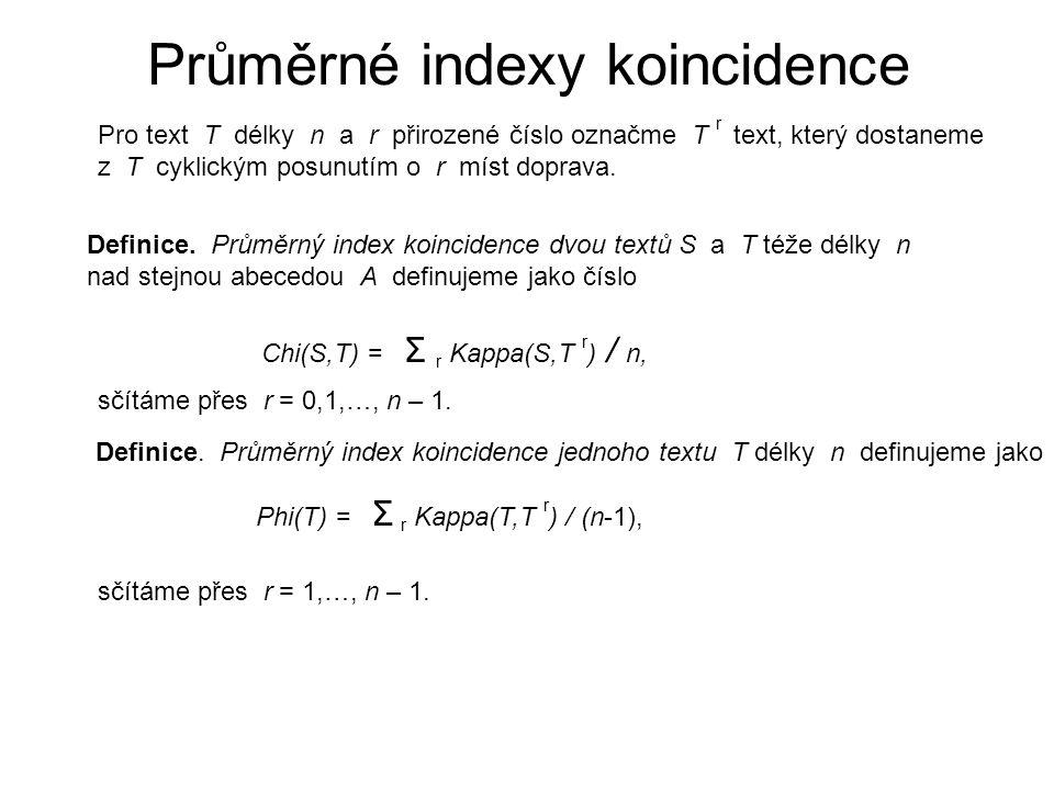 Použití pro nalezení délky klíče Máme-li daný šifrový text C délky n zašifrovaný nějakou polyalfabetickou šifrou, a chceme najít pravděpodobnou délku klíče, postupně pro každé d = 2,3,…,n-1 napíšeme šifrový text do d sloupců, texty ve sloupcích označíme C 1, C 2,…,C d, spočítáme průměrné indexy koincidence Phi(C j ) pro j = 1,2,…,d, a pak jejich průměr Σ j Phi(C j ) / d.