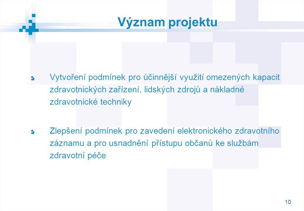 10 Význam projektu Vytvoření podmínek pro účinnější využití omezených kapacit zdravotnických zařízení, lidských zdrojů a nákladné zdravotnické techniky Zlepšení podmínek pro zavedení elektronického zdravotního záznamu a pro usnadnění přístupu občanů ke službám zdravotní péče