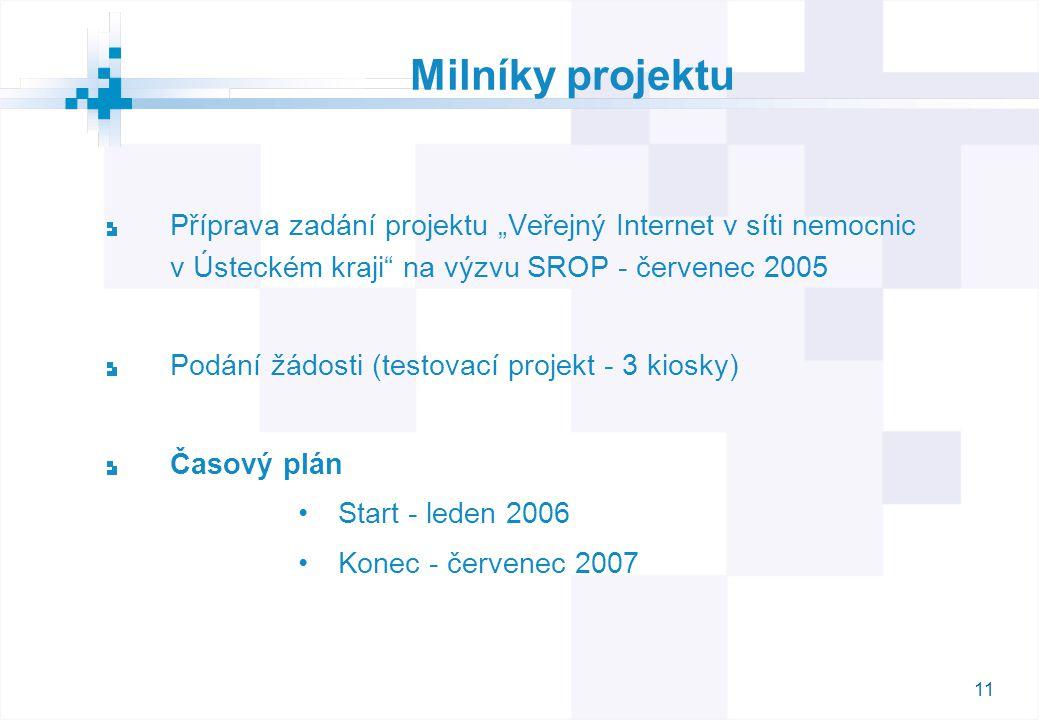 """11 Milníky projektu Příprava zadání projektu """"Veřejný Internet v síti nemocnic v Ústeckém kraji"""" na výzvu SROP - červenec 2005 Podání žádosti (testova"""