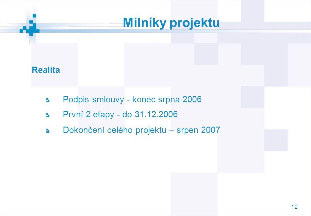 12 Milníky projektu Realita Podpis smlouvy - konec srpna 2006 První 2 etapy - do 31.12.2006 Dokončení celého projektu – srpen 2007