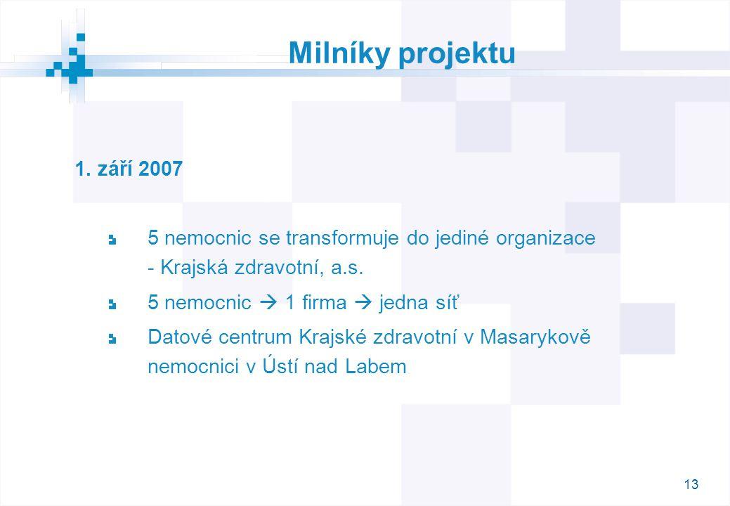 13 Milníky projektu 1. září 2007 5 nemocnic se transformuje do jediné organizace - Krajská zdravotní, a.s. 5 nemocnic  1 firma  jedna síť Datové cen