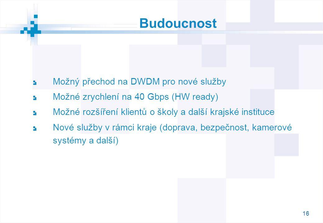 16 Budoucnost Možný přechod na DWDM pro nové služby Možné zrychlení na 40 Gbps (HW ready) Možné rozšíření klientů o školy a další krajské instituce No