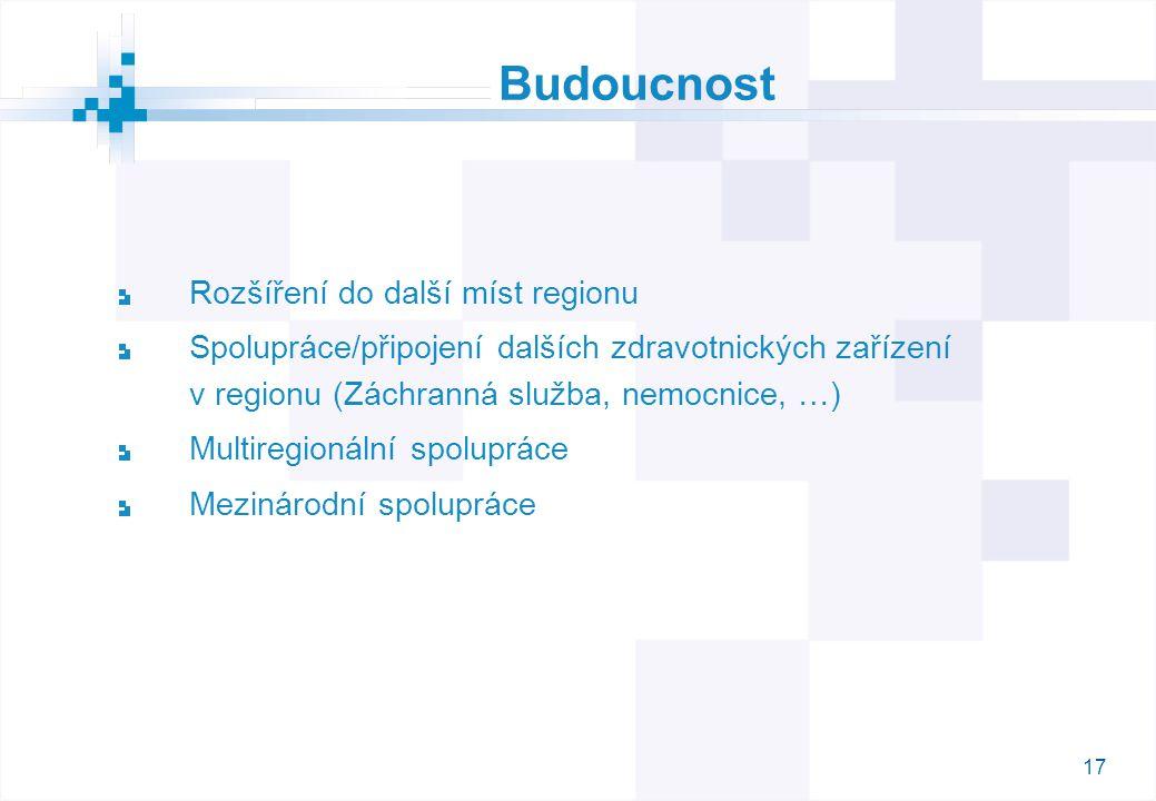 17 Budoucnost Rozšíření do další míst regionu Spolupráce/připojení dalších zdravotnických zařízení v regionu (Záchranná služba, nemocnice, …) Multiregionální spolupráce Mezinárodní spolupráce