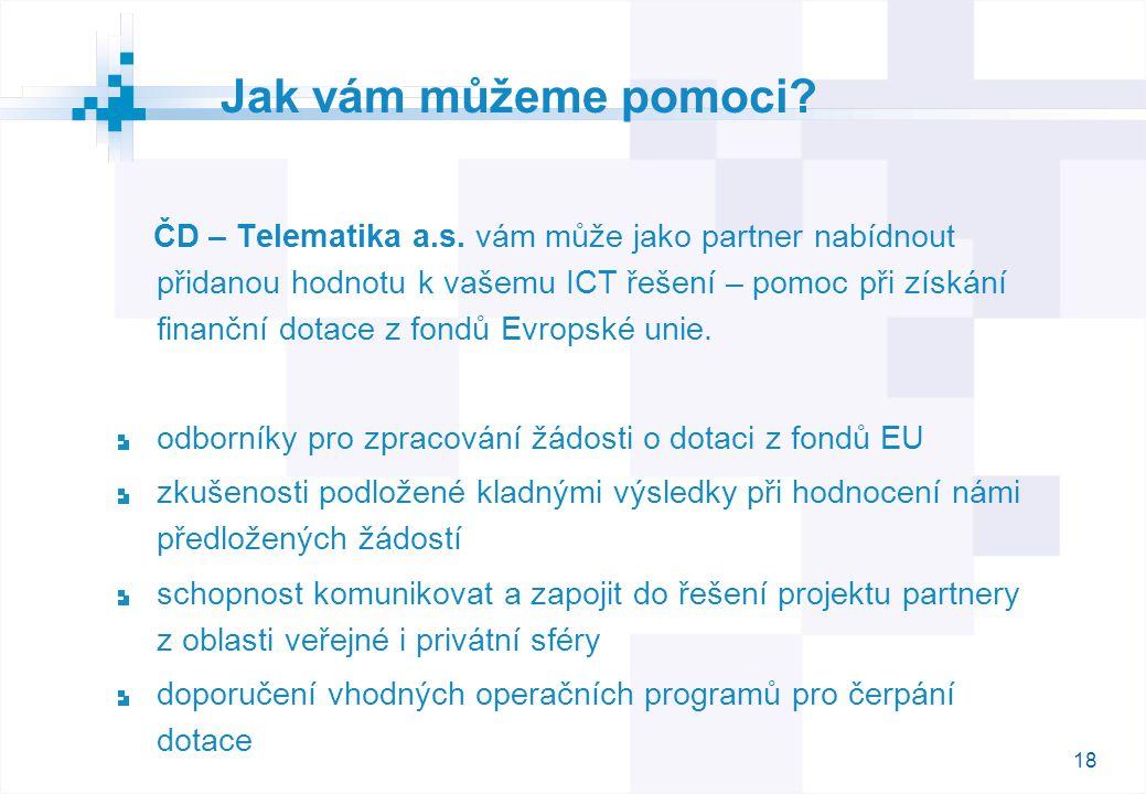 18 Jak vám můžeme pomoci. ČD – Telematika a.s.