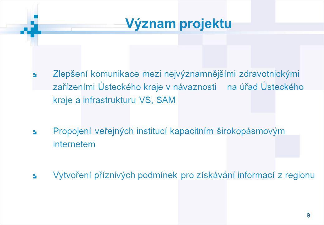 9 Význam projektu Zlepšení komunikace mezi nejvýznamnějšími zdravotnickými zařízeními Ústeckého kraje v návaznosti na úřad Ústeckého kraje a infrastru