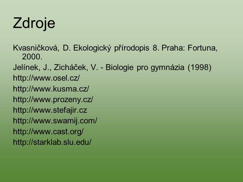 Zdroje Kvasničková, D. Ekologický přírodopis 8. Praha: Fortuna, 2000. Jelínek, J., Zicháček, V. - Biologie pro gymnázia (1998) http://www.osel.cz/ htt