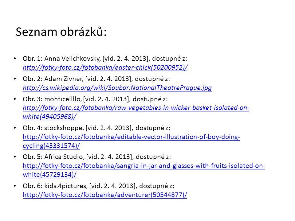 Seznam obrázků: Obr. 1: Anna Velichkovsky, [vid. 2. 4. 2013], dostupné z: http://fotky-foto.cz/fotobanka/easter-chick(50200952)/ http://fotky-foto.cz/