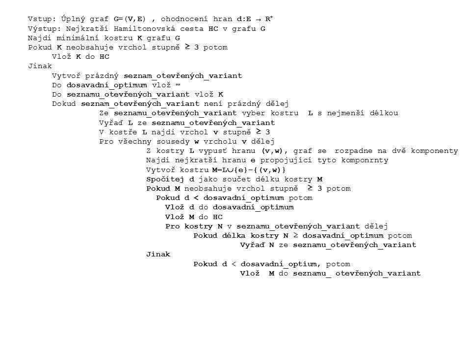 Vstup: Úplný graf G=(V,E), ohodnocení hran d:E → R + Výstup: Nejkratší Hamiltonovská cesta HC v grafu G Najdi minimální kostru K grafu G Pokud K neobsahuje vrchol stupně ≥ 3 potom Vlož K do HC Jinak Vytvoř prázdný seznam_otevřených_variant Do dosavadní_optimum vlož ∞ Do seznamu_otevřených_variant vlož K Dokud seznam_otevřených_variant není prázdný dělej Ze seznamu_otevřených_variant vyber kostru L s nejmenší délkou Vyřaď L ze seznamu_otevřených_variant V kostře L najdi vrchol v stupně ≥ 3 Pro všechny sousedy w vrcholu v dělej Z kostry L vypusť hranu (v,w), graf se rozpadne na dvě komponenty Najdi nejkratší hranu e propojující tyto komponrnty Vytvoř kostru M=L  {e}−{(v,w)} Spočítej d jako součet délku kostry M Pokud M neobsahuje vrchol stupně ≥ 3 potom Pokud d < dosavadní_optimum potom Vlož d do dosavadní_optimum Vlož M do HC Pro kostry N v seznamu_otevřených_variant dělej Pokud délka kostry N ≥ dosavadní_optimum potom Vyřaď N ze seznamu_otevřených_variant Jinak Pokud d < dosavadní_optium, potom Vlož M do seznamu_ otevřených_variant