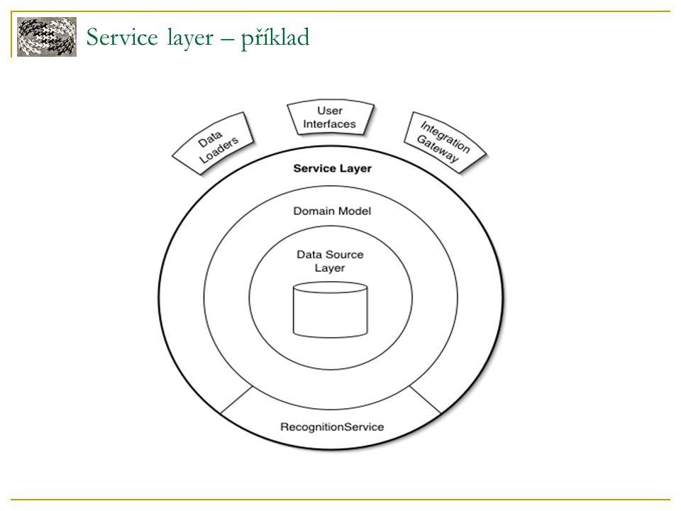 Service layer – varianty Domain facade – Servisní vrstva neobsahuje bussiness logiku Operation script – Servisní vrstva obsahuje bussiness logiku
