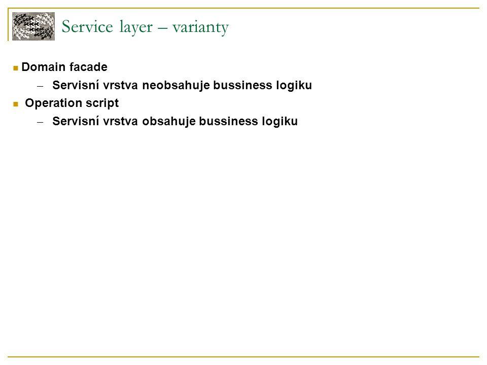 Service layer – příklad – class diagram