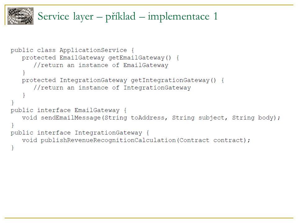 Service layer – příklad – implementace 2