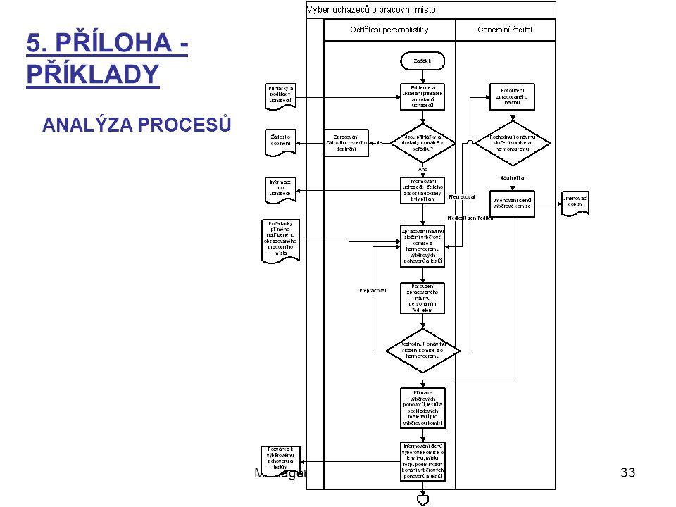 Management - Organizování33 ANALÝZA PROCESŮ 5. PŘÍLOHA - PŘÍKLADY