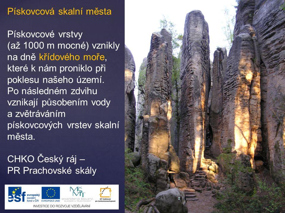 Pískovcová skalní města Pískovcové vrstvy (až 1000 m mocné) vznikly na dně křídového moře, které k nám proniklo při poklesu našeho území. Po následném