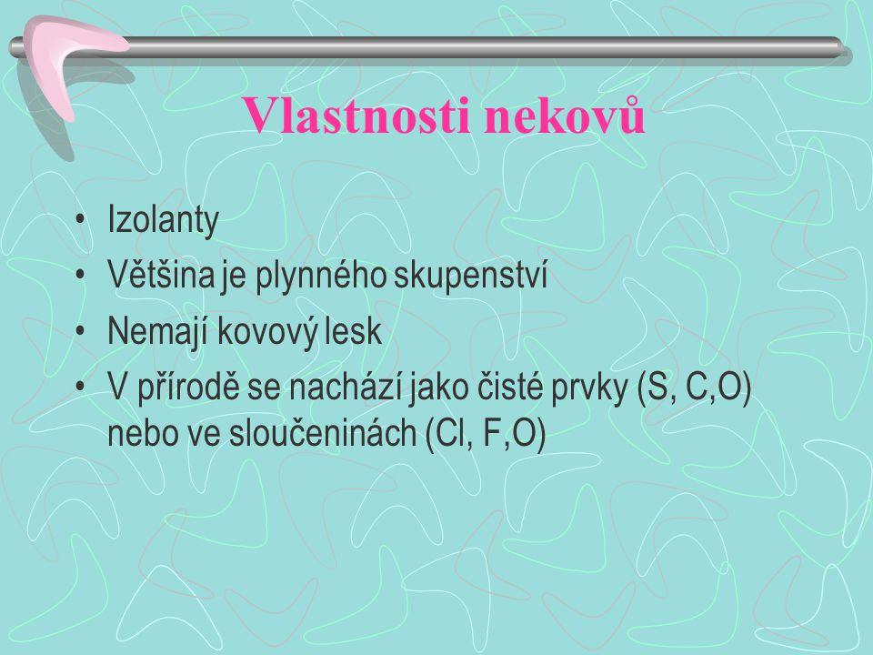 Vlastnosti nekovů Izolanty Většina je plynného skupenství Nemají kovový lesk V přírodě se nachází jako čisté prvky (S, C,O) nebo ve sloučeninách (Cl, F,O)