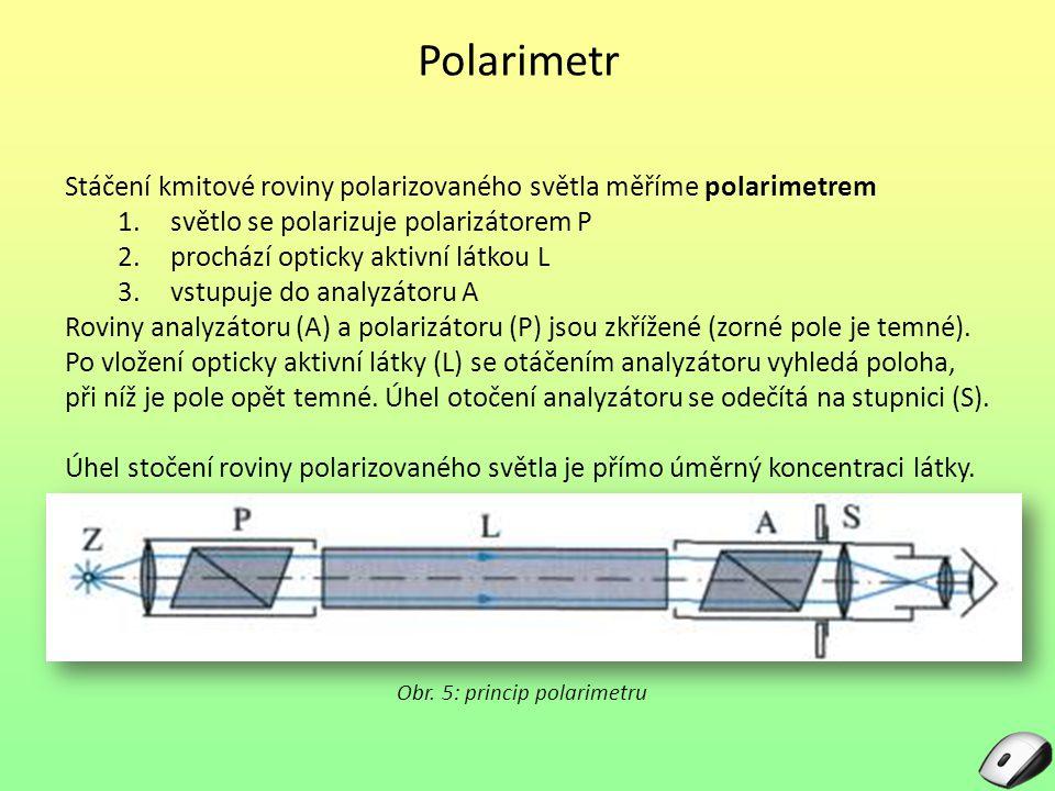 Polarimetr Stáčení kmitové roviny polarizovaného světla měříme polarimetrem 1.světlo se polarizuje polarizátorem P 2.prochází opticky aktivní látkou L 3.vstupuje do analyzátoru A Roviny analyzátoru (A) a polarizátoru (P) jsou zkřížené (zorné pole je temné).