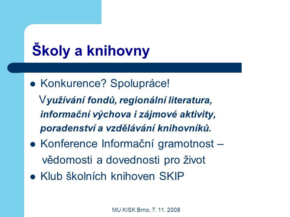 MU KISK Brno, 7.11. 2008 Školy a knihovny Konkurence.