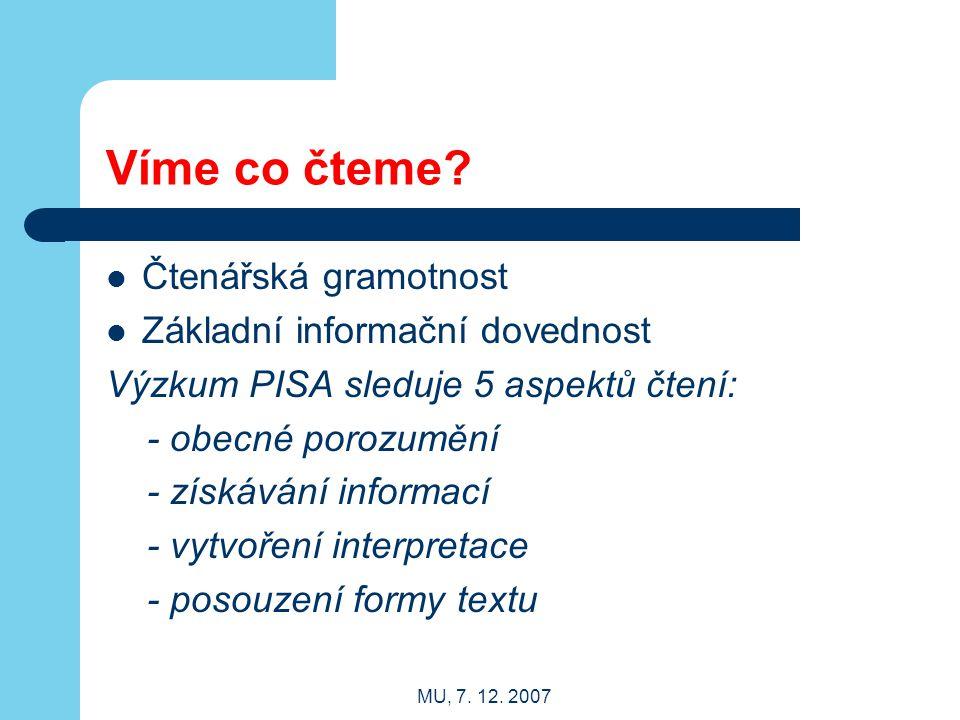 MU, 7. 12. 2007 Víme co čteme? Čtenářská gramotnost Základní informační dovednost Výzkum PISA sleduje 5 aspektů čtení: - obecné porozumění - získávání
