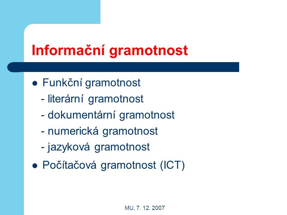 MU, 7. 12. 2007 Informační gramotnost Funkční gramotnost - literární gramotnost - dokumentární gramotnost - numerická gramotnost - jazyková gramotnost