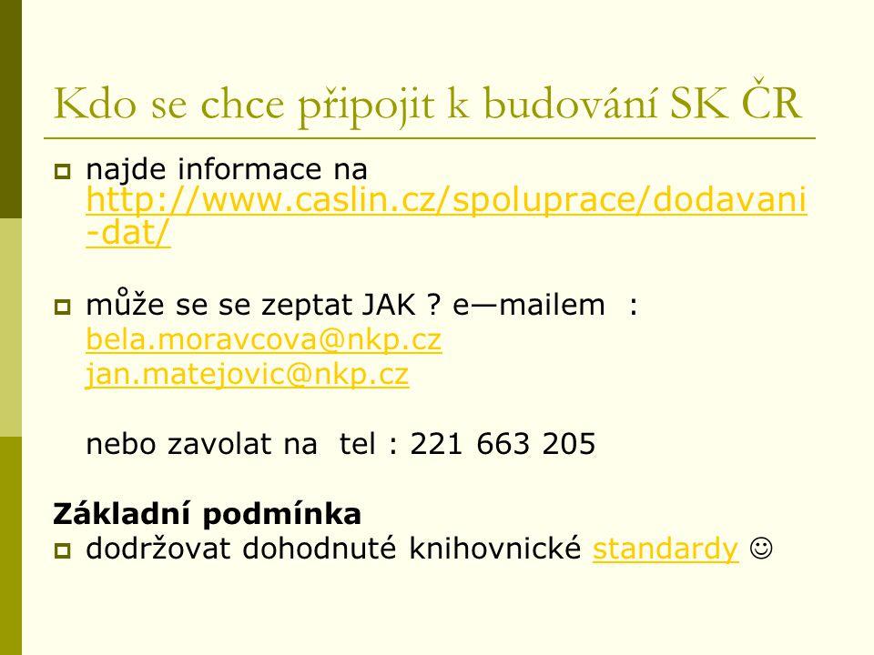 Kdo se chce připojit k budování SK ČR  najde informace na http://www.caslin.cz/spoluprace/dodavani -dat/ http://www.caslin.cz/spoluprace/dodavani -dat/  může se se zeptat JAK .