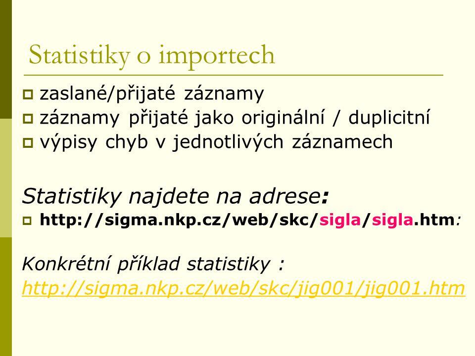 Statistiky o importech  zaslané/přijaté záznamy  záznamy přijaté jako originální / duplicitní  výpisy chyb v jednotlivých záznamech Statistiky najd