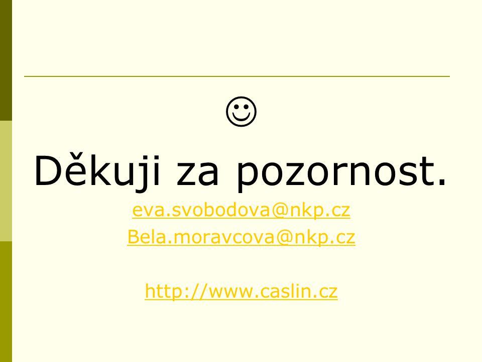 Děkuji za pozornost. eva.svobodova@nkp.cz Bela.moravcova@nkp.cz http://www.caslin.cz