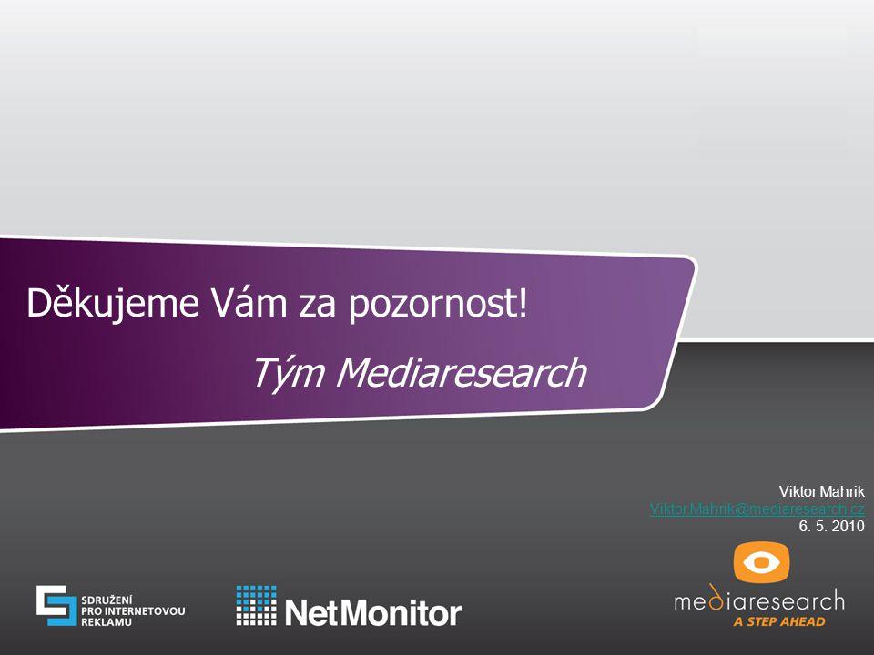 13 © Mediaresearch, a.s., 2008 Děkujeme Vám za pozornost! Tým Mediaresearch Viktor Mahrik Viktor.Mahrik@mediaresearch.cz 6. 5. 2010