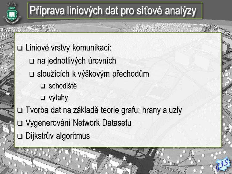 Příprava liniových dat pro síťové analýzy  Liniové vrstvy komunikací:  na jednotlivých úrovních  sloužících k výškovým přechodům  schodiště  výta