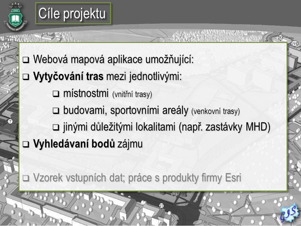 Cíle projektu  Webová mapová aplikace umožňující:  Vytyčování tras mezi jednotlivými:  místnostmi (vnitřní trasy)  budovami, sportovními areály (v
