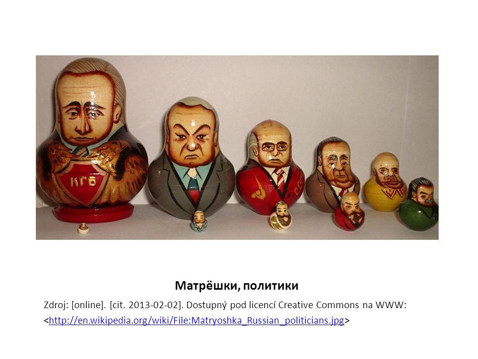 Матрёшки, политики Zdroj: [online]. [cit. 2013-02-02]. Dostupný pod licencí Creative Commons na WWW: http://en.wikipedia.org/wiki/File:Matryoshka_Russ