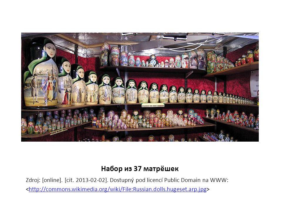 Набор из 37 матрёшек Zdroj: [online]. [cit. 2013-02-02]. Dostupný pod licencí Public Domain na WWW: http://commons.wikimedia.org/wiki/File:Russian.dol