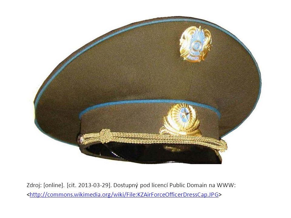 Zdroj: [online]. [cit. 2013-03-29]. Dostupný pod licencí Public Domain na WWW: http://commons.wikimedia.org/wiki/File:KZAirForceOfficerDressCap.JPG