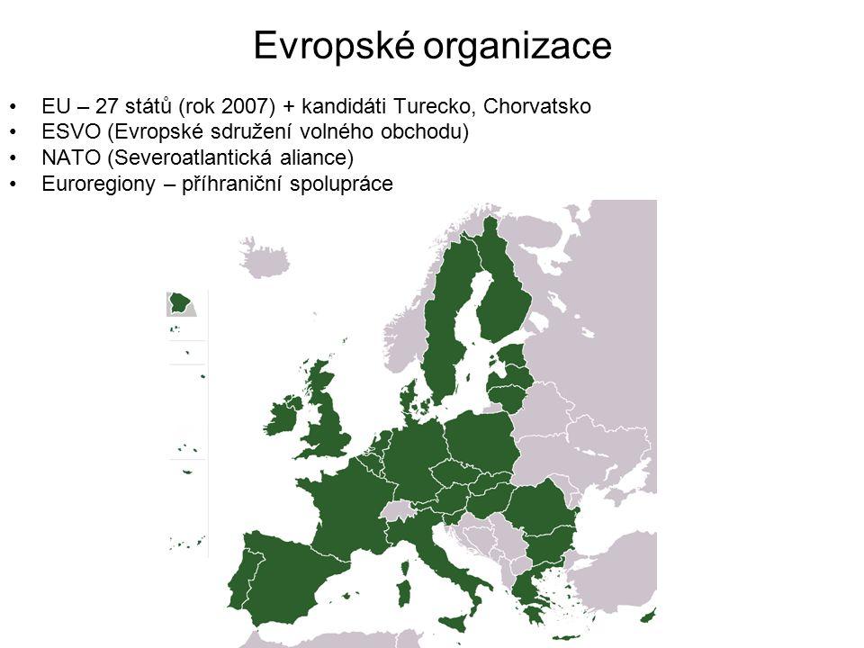 Evropské organizace EU – 27 států (rok 2007) + kandidáti Turecko, Chorvatsko ESVO (Evropské sdružení volného obchodu) NATO (Severoatlantická aliance)
