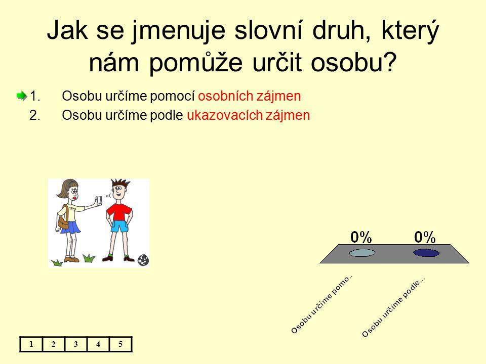 Jak se jmenuje slovní druh, který nám pomůže určit osobu? 1.Osobu určíme pomocí osobních zájmen 2.Osobu určíme podle ukazovacích zájmen 12345