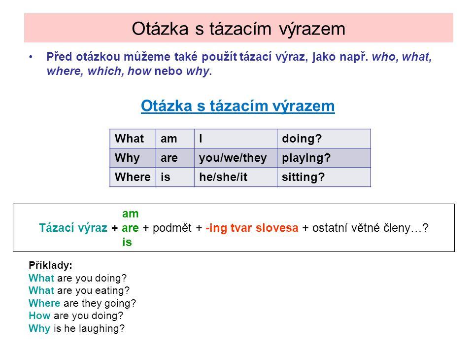 Před otázkou můžeme také použít tázací výraz, jako např. who, what, where, which, how nebo why. Otázka s tázacím výrazem Příklady: What are you doing?