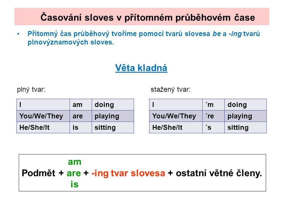 Přítomný čas průběhový tvoříme pomocí tvarů slovesa be a -ing tvarů plnovýznamových sloves. Věta kladná plný tvar: stažený tvar: Časování sloves v pří