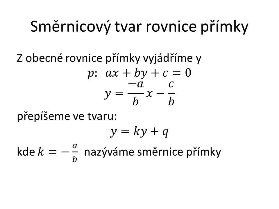 Směrnicový tvar rovnice přímky