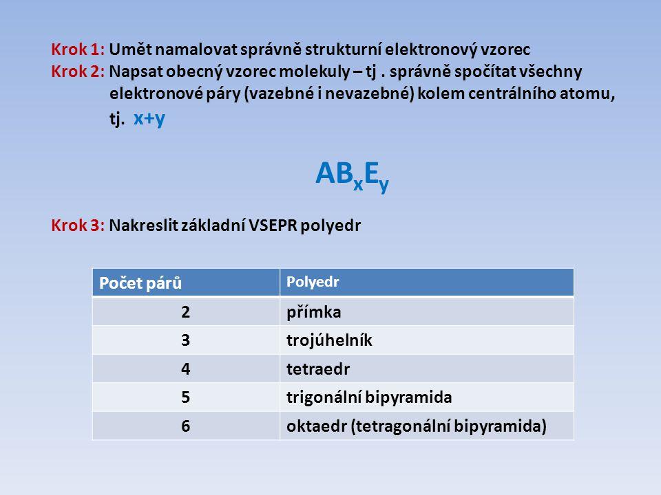 Krok 1: Umět namalovat správně strukturní elektronový vzorec Krok 2: Napsat obecný vzorec molekuly – tj. správně spočítat všechny elektronové páry (va