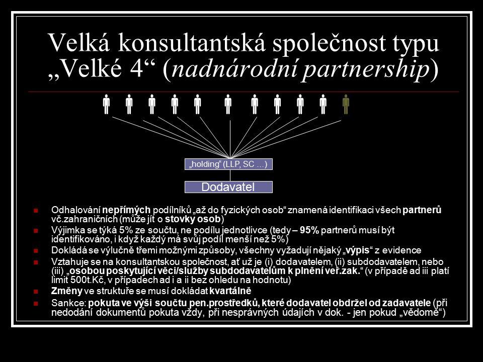 """ """"holding"""" (LLP, SC …) Dodavatel  Velká konsultantská společnost typu """"Velké 4"""" (nadnárodní partnership) Odhalování nepřímých podílníků """"až"""